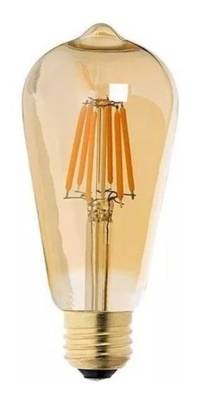 Lampada Retro Vintage St64 6w Filamento De Led Ambar Bivolt