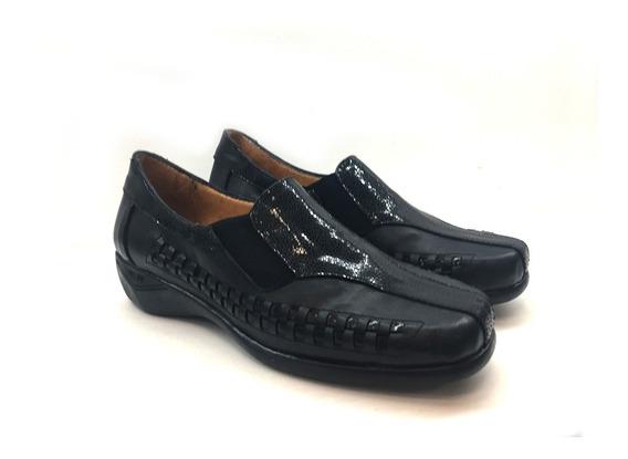 Zapato De Cuero Cómodo Para Dama Modelo 2432 / Negro