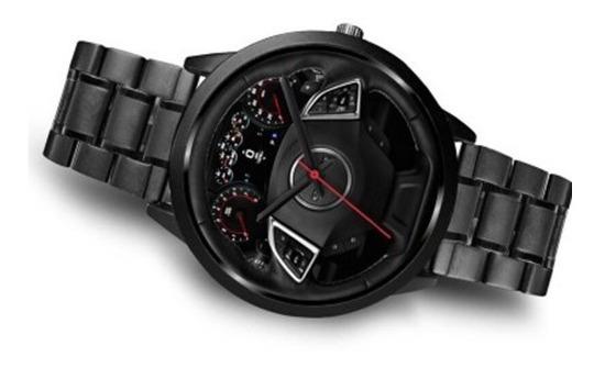 Relógio Simulador Volante De Carro Impressão Pulseira Em Aço