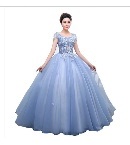 Vestido Debutante Festa 15 Anos Saiote Gratis Azul Rosa 009