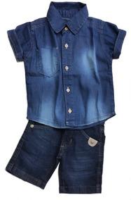 Conjunto Infantil Menino Bermuda Slim E Camisa Jeans 1 Ao 8