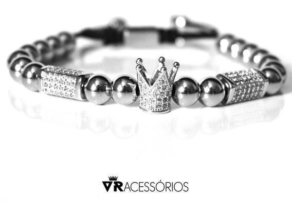 Pulseira Macramê Crown Silver