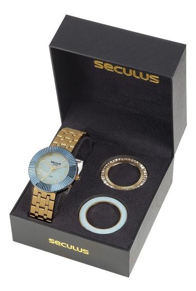 Kit Relógio Feminino Seculus 20598lpsvds2 Super Promoção