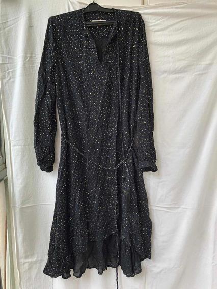Vestido Jazmín Chebar Negro Dorado Talle 42/2 Viscosa Noche