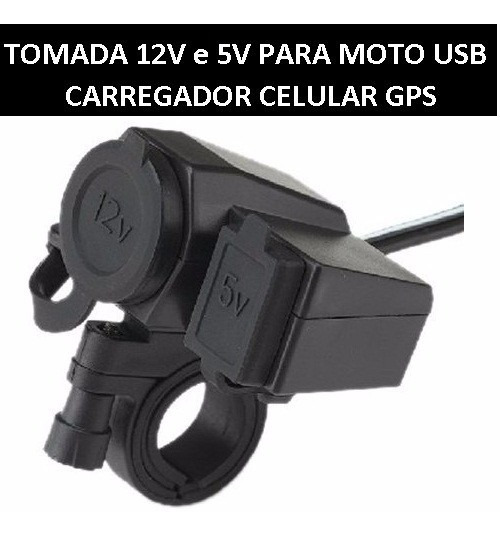 Tomada 12v E 5v Para Moto Carregador Celular Via Usb Gps