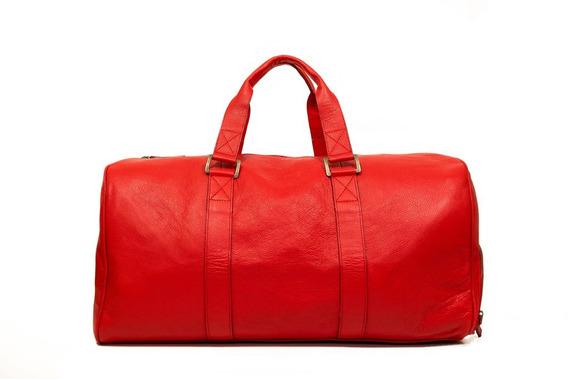 Bolso De Cuero Rojo