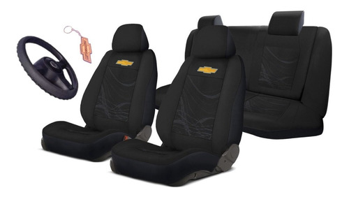 Celta Capa Para Banco Carro Gm + Capa Volante Preto