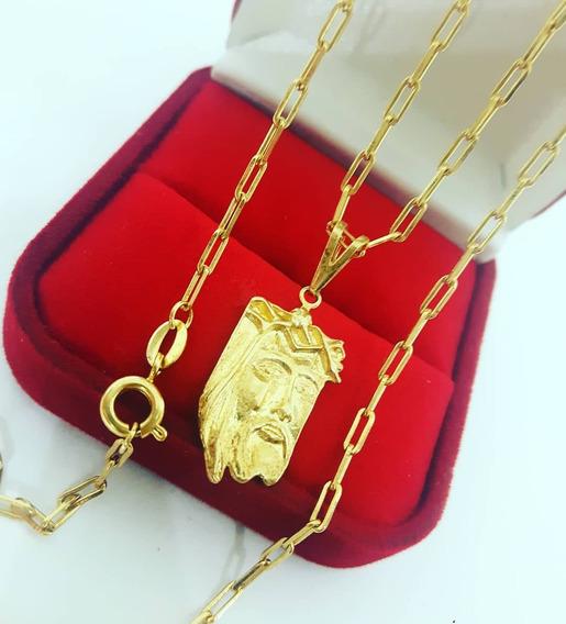 Cordão Corrente Cartier Banhada Ouro Ping Face Jesus Cristo