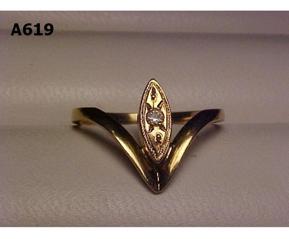 #619a - Anel Em Ouro 18k Com Diamante