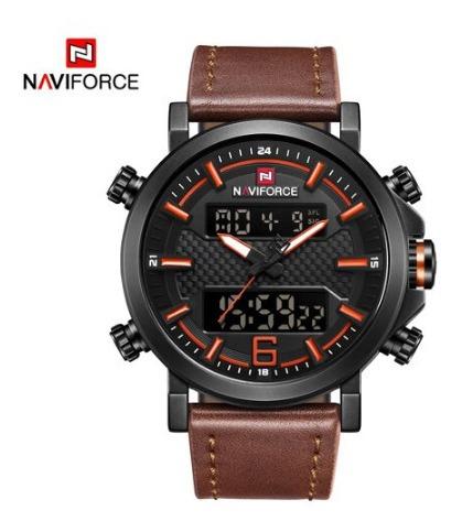 Relógio Naviforce 9135 Esportivo Pulseira De Couro Militar