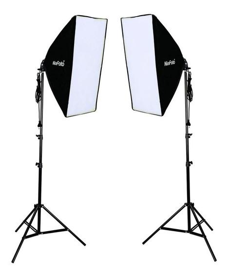 Softbox Iluminação Led Foto Video 450w Bivolt 1 Kit Completo
