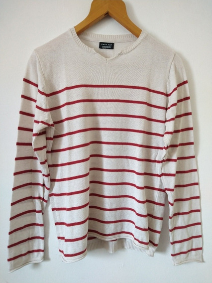 Sweater Hombre, Crudo Beige Rojo, Rayado, Zara, Small