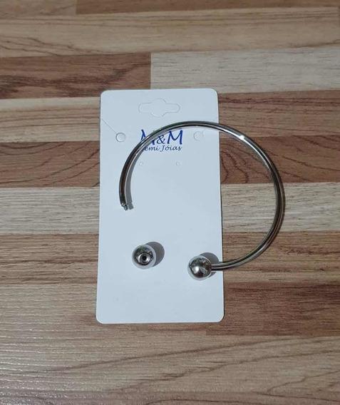 Pulseira Aro 17.5cm P/berloques Rosqueado+cordão Aço Kit 3pç