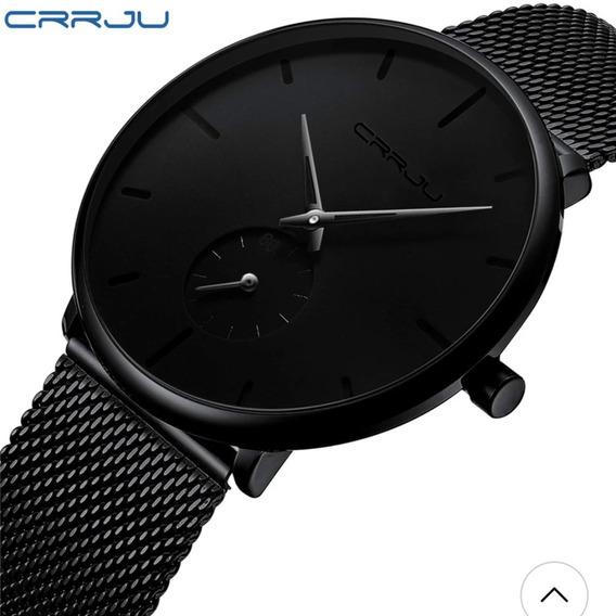 Relógio Masculino Crrju Social Preto Esportivo Fino Aço Inox
