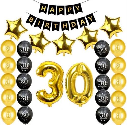 Kit Globos 30 Años Cumpleaños  Metalicos Marcados Fiesta