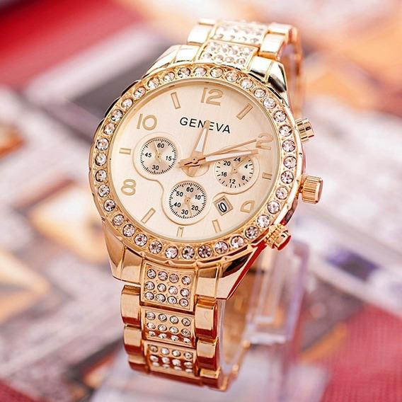 Lindo Relógio Feminino Geneva Dourado Com Strass Calendário