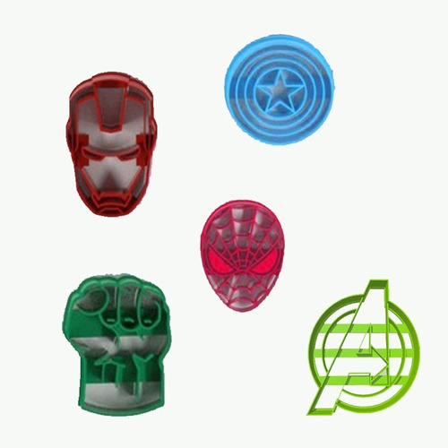 Imagen 1 de 4 de Set Combo Cortantes Galletitas Advengers Superheroes X5 U