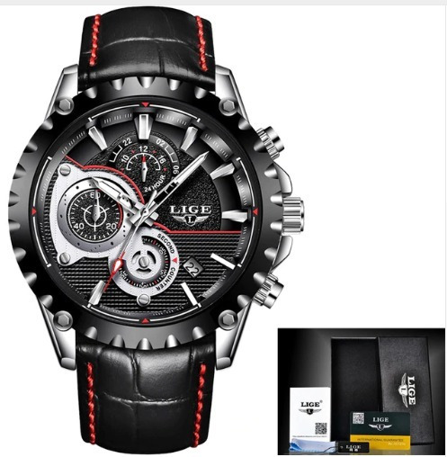 Relógio Esportivo Cronógrafo, Data Lige 9842