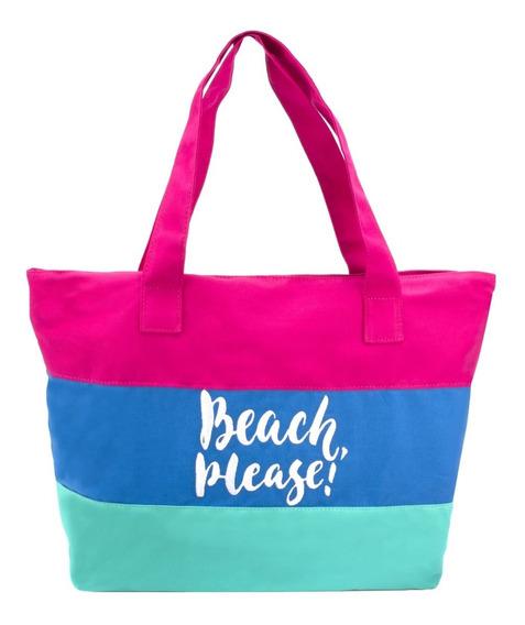 Bolsa De Praia Feminina Em Lona De Algodão Em 3 Cores