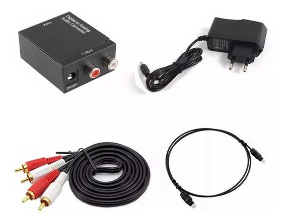 Conversor Audio Digital Toslink Analogico Cabos Optico E Rca