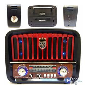 Radio Vintage Am/fm Retrô Bluetooth Usb Sd Moderno Com Luz