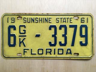 Placa De Carro Americano - Florida - U.s.a. - Original 1961