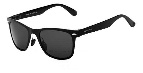 Óculos Sol Masculino Original Preto Azul Quadrado Polarizado