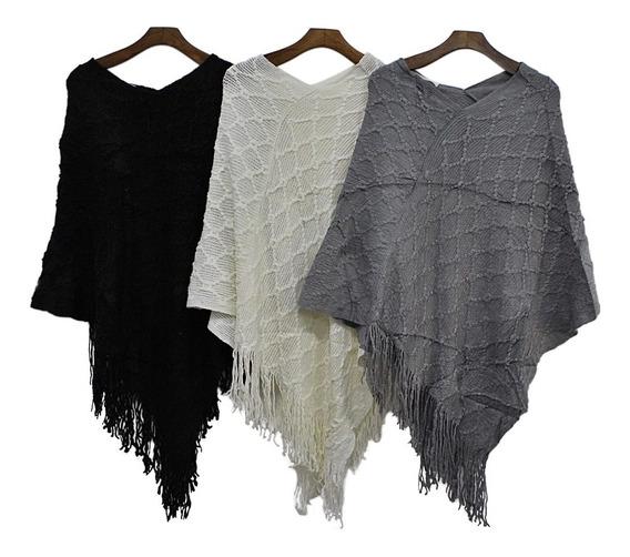 Poncho De Lã Blusa De Frio Sueter Inverno Moda Feminina 2836