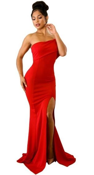 Sexy Vestido Noche Elegante Largo Sirena Un Hombro 61929