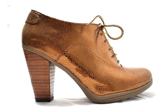 Zapato Bota Acordonado Taco Cuero Cobre Únicos Quica Maimara
