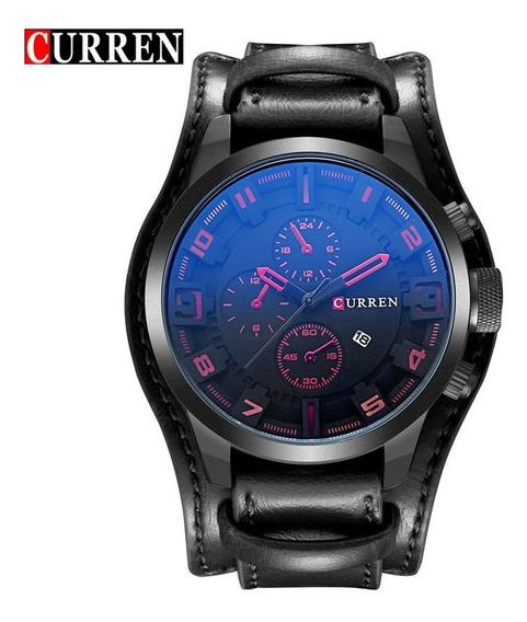 Relógio Masculino Curren Pulseira Couro Social Original