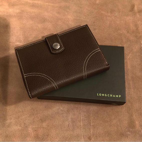 Billetera Mujer Cuero Longchamp Original Marron