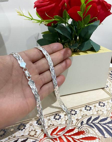 Colar Feminino 5 Fios 45cm Prata 925 Italiana Legitima+brind
