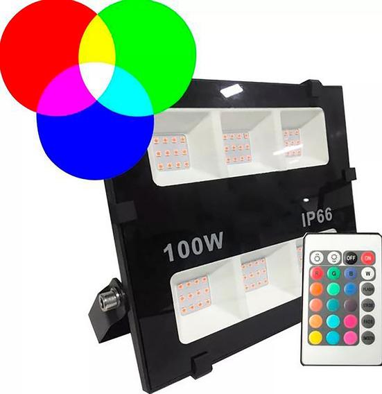 Refletor Micro Led 100w Rgb Ip66 Com Controle De Luz Bivolt Iluminação Profissional Prova D