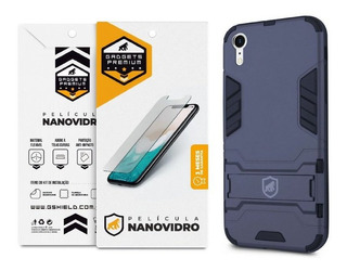 Kit Capa Armor + Película Nano Vidro Para iPhone XR -gshield
