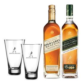 Kit Johnnie Premium Jw Gold Label + Jw Green Label + 2 Copos