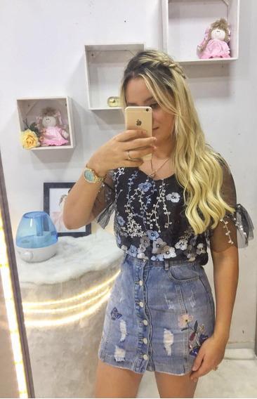 Blusa Camisa Feminina Tule Com Forro Bordado Flores