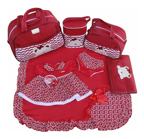 Kits Saídas Maternidade Bolsas 4pc Vermelho Menina Estampado
