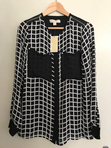 Camisa Feminina Michael Kors Original Preta E Branca