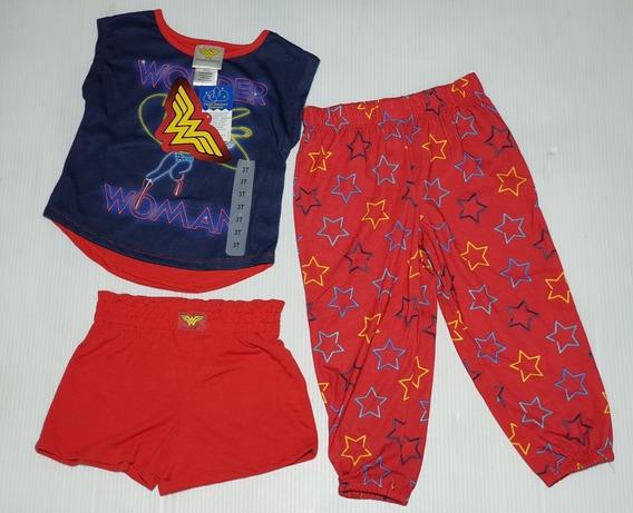 Pijama Para Niña De 3 Piezas Wonder Woman