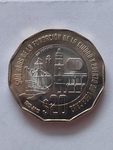 Imagen 1 de 5 de Moneda $20 Bimetalica Veracruz 500 Años De La Fundación