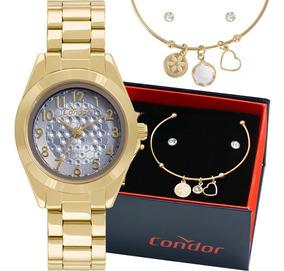 Kit Relógio Condor Feminino Barato Garantia Co2035kwg/k4a
