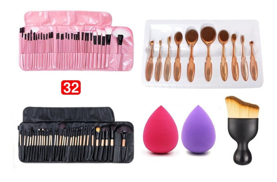 Kit Set 32 Brochas Pinceles De Maquillaje, 10 Brochas Oval +