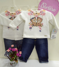 Conjunto Luxo Paraiso Bebe Menina Inverno Jeans + Blusa 8039