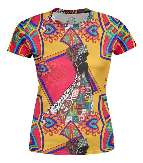 Camiseta Baby Look Feminina Estampa Africana Total Print