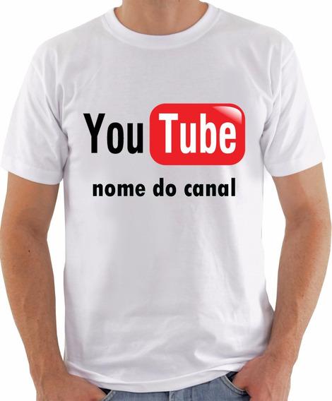 Camiseta Youtube Com Nome Do Canal Frente E Verso