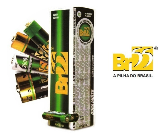 Pilhas Aa Br55 Caixa Com 60 Pilhas Kit 5pçs + 05 Tubo Aaa