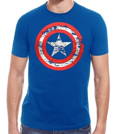 Camiseta Capitão America Marvel Escudo Desgastado
