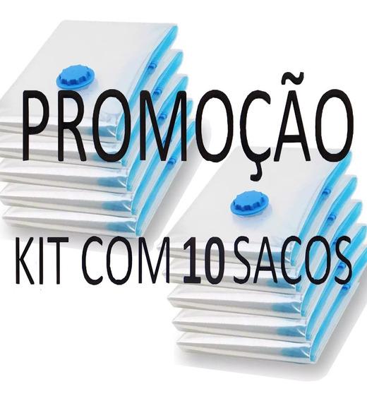 Saco Vacuo Kit 10 Sacos 70cmx50cm Armazenar Organizar Roupas