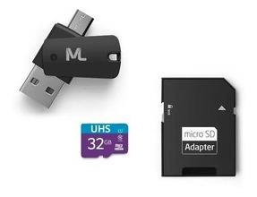 Adaptador Otg + Cartão De Memoria 32gb 4 Em 1 Alta Velocidade Multilaser 10anos Garantia Promoção